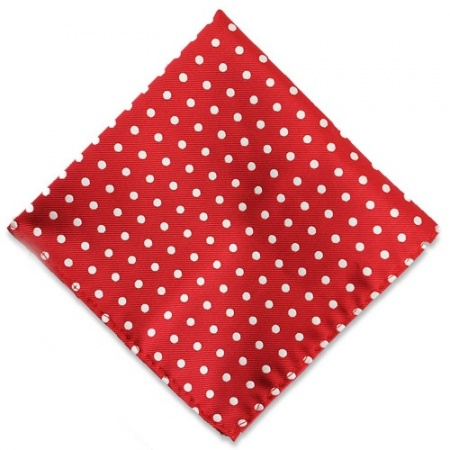 Red Pocket Square with White Spots